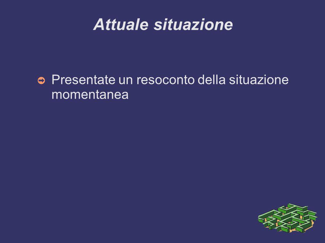 Attuale situazione ➲ Presentate un resoconto della situazione momentanea