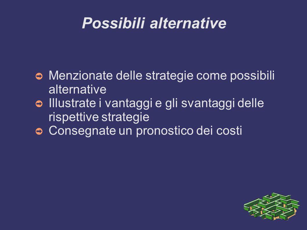 Possibili alternative ➲ Menzionate delle strategie come possibili alternative ➲ Illustrate i vantaggi e gli svantaggi delle rispettive strategie ➲ Con