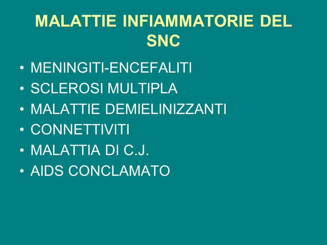 MALATTIE INFIAMMATORIE DEL SNC MENINGITI-ENCEFALITI SCLEROSI MULTIPLA MALATTIE DEMIELINIZZANTI CONNETTIVITI MALATTIA DI C.J. AIDS CONCLAMATO