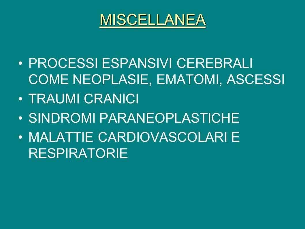 MISCELLANEA PROCESSI ESPANSIVI CEREBRALI COME NEOPLASIE, EMATOMI, ASCESSI TRAUMI CRANICI SINDROMI PARANEOPLASTICHE MALATTIE CARDIOVASCOLARI E RESPIRAT