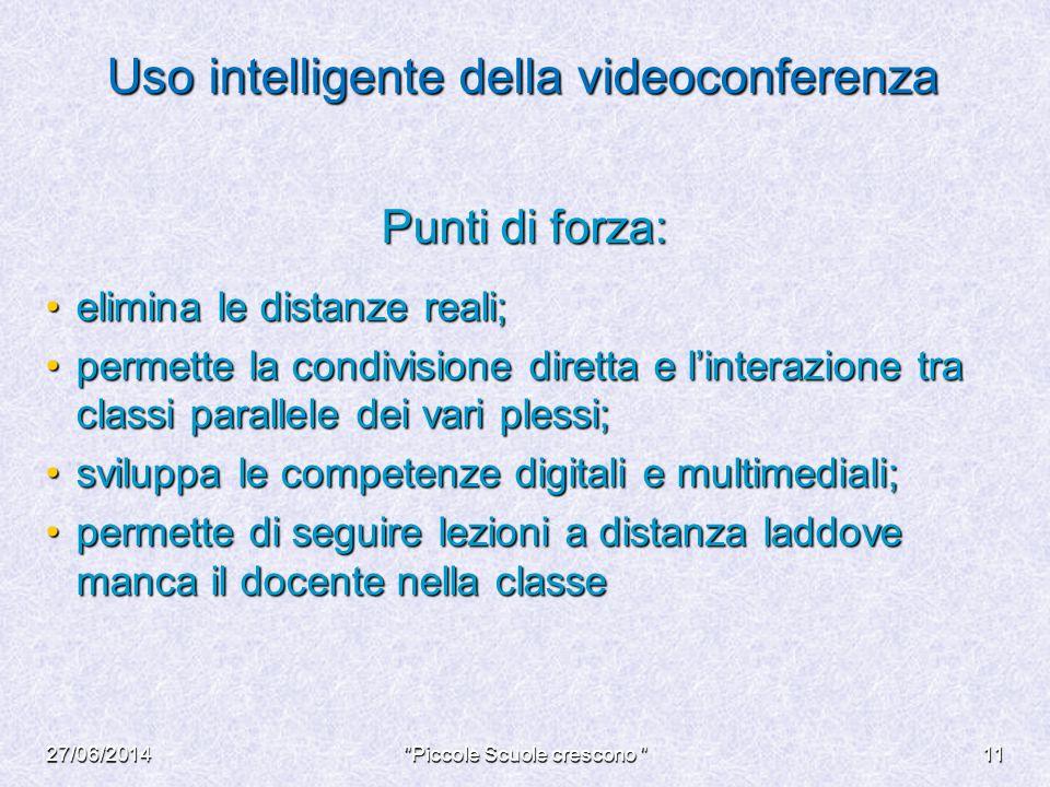 Uso intelligente della videoconferenza Punti di forza: elimina le distanze reali;elimina le distanze reali; permette la condivisione diretta e l'inter