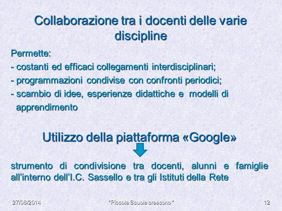 Collaborazione tra i docenti delle varie discipline Permette: - costanti ed efficaci collegamenti interdisciplinari; - programmazioni condivise con co