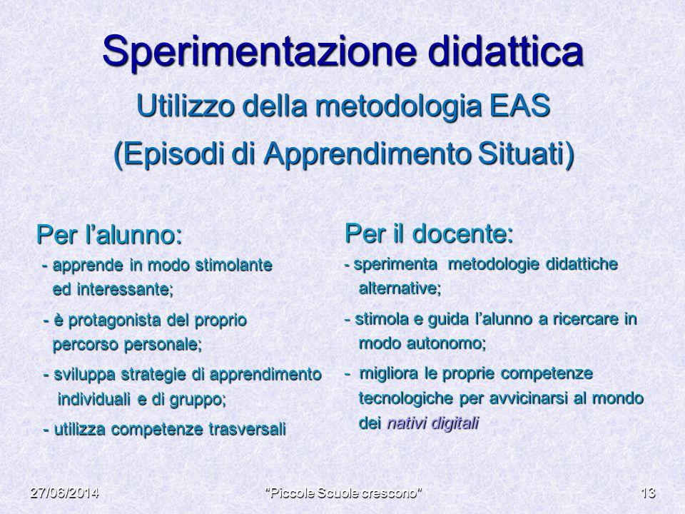 Sperimentazione didattica Utilizzo della metodologia EAS (Episodi di Apprendimento Situati) Per l'alunno: Per l'alunno: - apprende in modo stimolante