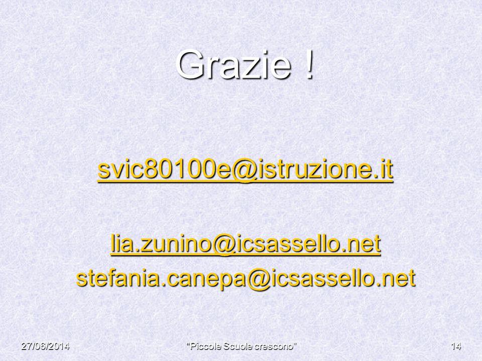 Grazie ! svic80100e@istruzione.it lia.zunino@icsassello.net stefania.canepa@icsassello.net 27/06/2014