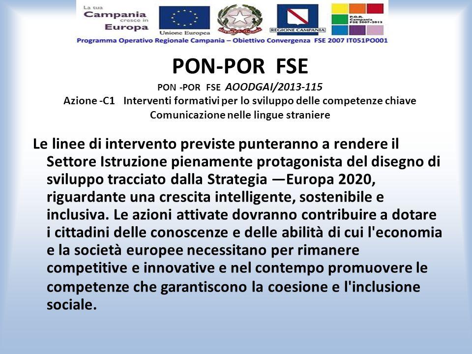 PON-POR FSE PON -POR FSE AOODGAI/2013-115 Azione -C1 Interventi formativi per lo sviluppo delle competenze chiave Comunicazione nelle lingue straniere