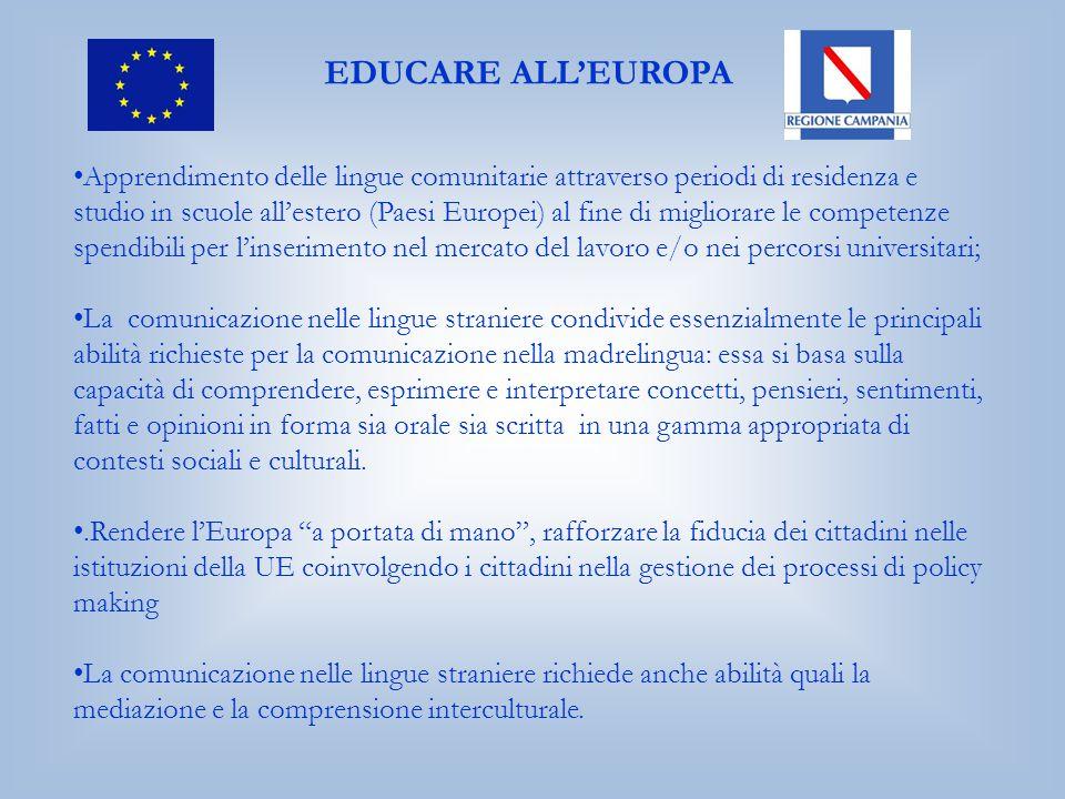 EDUCARE ALL'EUROPA Apprendimento delle lingue comunitarie attraverso periodi di residenza e studio in scuole all'estero (Paesi Europei) al fine di mig