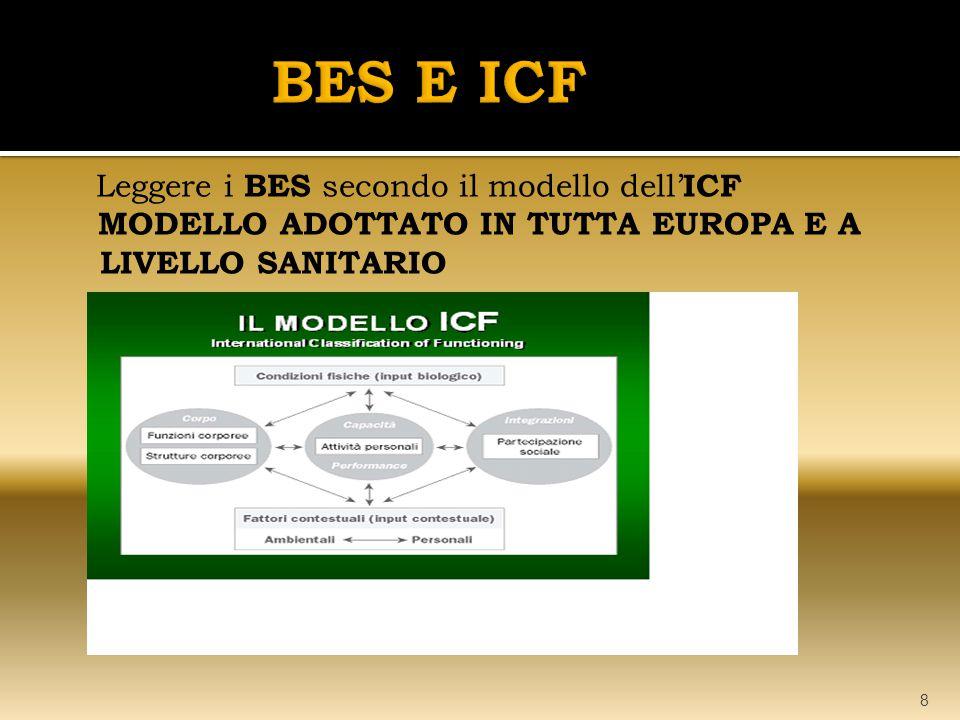 Leggere i BES secondo il modello dell' ICF MODELLO ADOTTATO IN TUTTA EUROPA E A LIVELLO SANITARIO 8