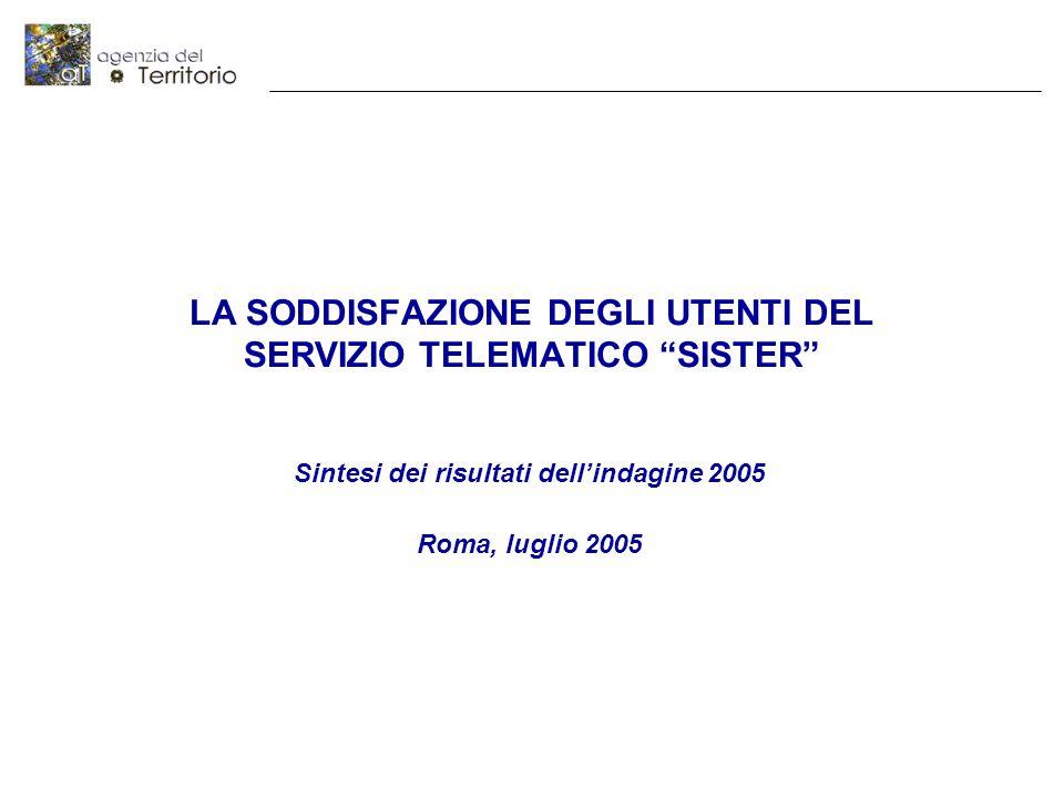 LA SODDISFAZIONE DEGLI UTENTI DEL SERVIZIO TELEMATICO SISTER Sintesi dei risultati dell'indagine 2005 Roma, luglio 2005
