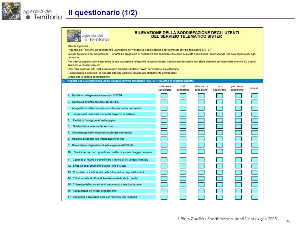 16 Ufficio Qualità / Soddisfazione utenti Sister / luglio 2005 16 Il questionario (1/2)