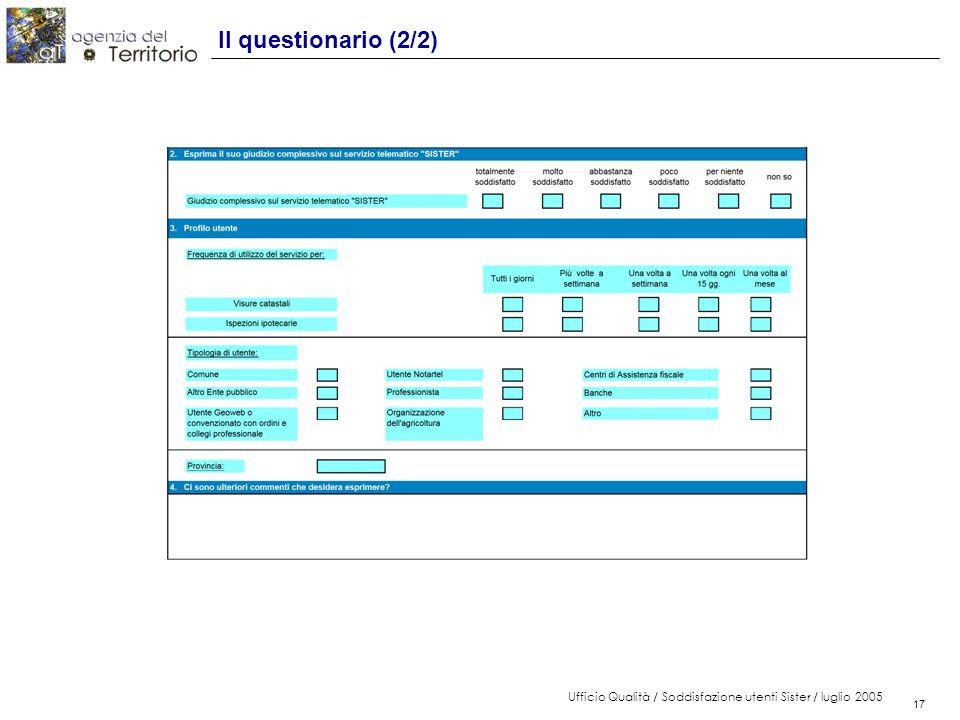 17 Ufficio Qualità / Soddisfazione utenti Sister / luglio 2005 17 Il questionario (2/2)