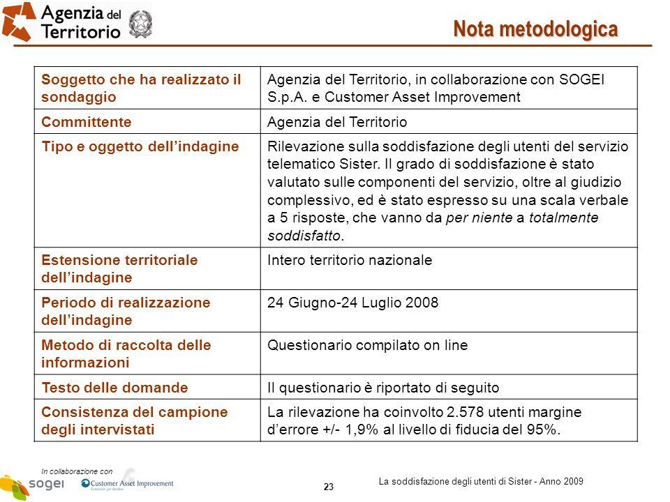 23 In collaborazione con La soddisfazione degli utenti di Sister - Anno 2009 Soggetto che ha realizzato il sondaggio Agenzia del Territorio, in collaborazione con SOGEI S.p.A.