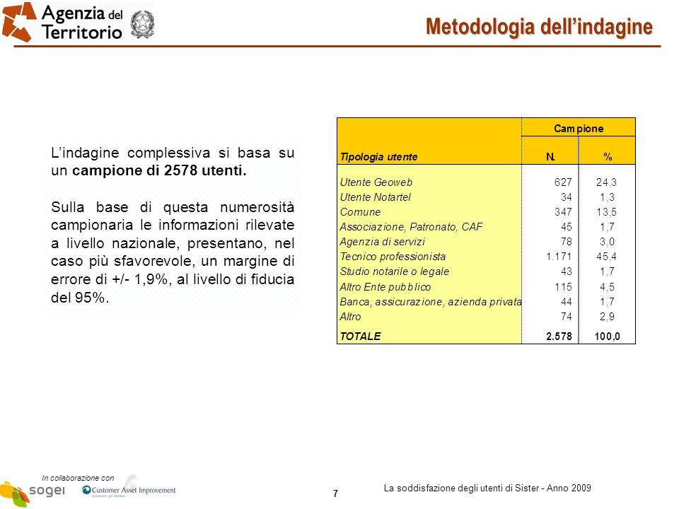 7 In collaborazione con La soddisfazione degli utenti di Sister - Anno 2009 Metodologia dell'indagine L'indagine complessiva si basa su un campione di 2578 utenti.
