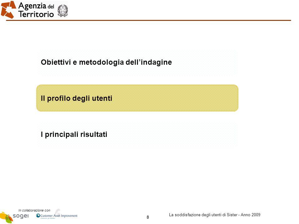 8 In collaborazione con La soddisfazione degli utenti di Sister - Anno 2009 Obiettivi e metodologia dell'indagine Il profilo degli utenti I principali risultati