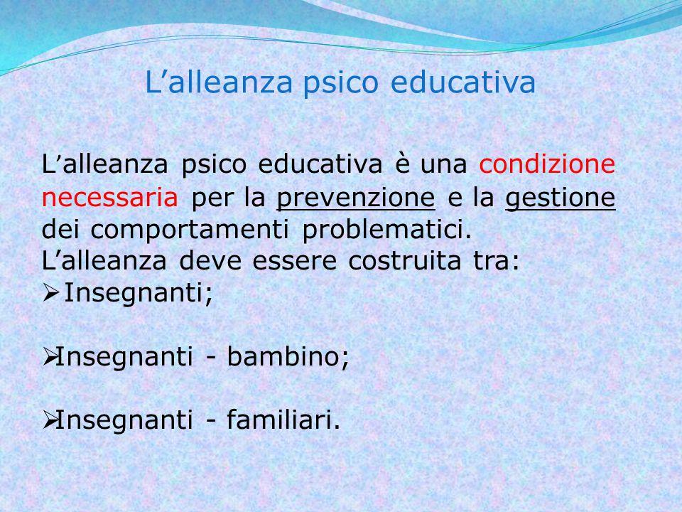 L'alleanza psico educativa L ' alleanza psico educativa è una condizione necessaria per la prevenzione e la gestione dei comportamenti problematici.