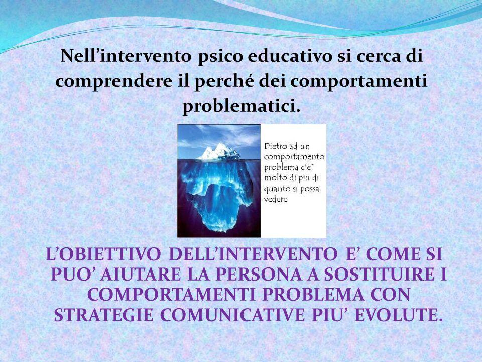 Nell'intervento psico educativo si cerca di comprendere il perché dei comportamenti problematici.