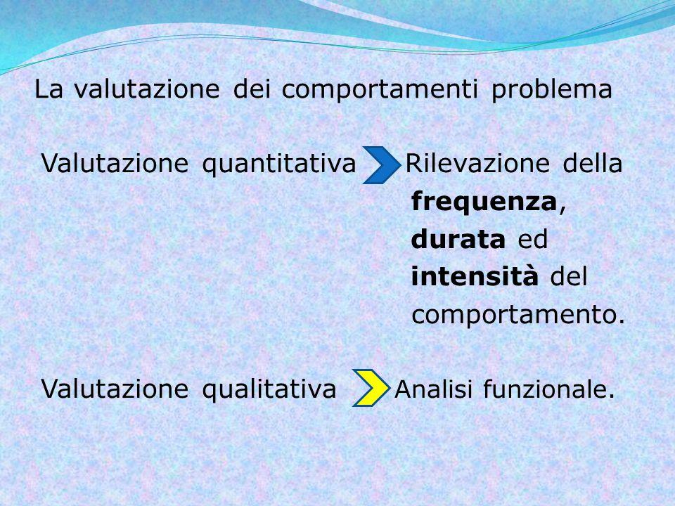 La valutazione dei comportamenti problema Valutazione quantitativa Rilevazione della frequenza, durata ed intensità del comportamento.