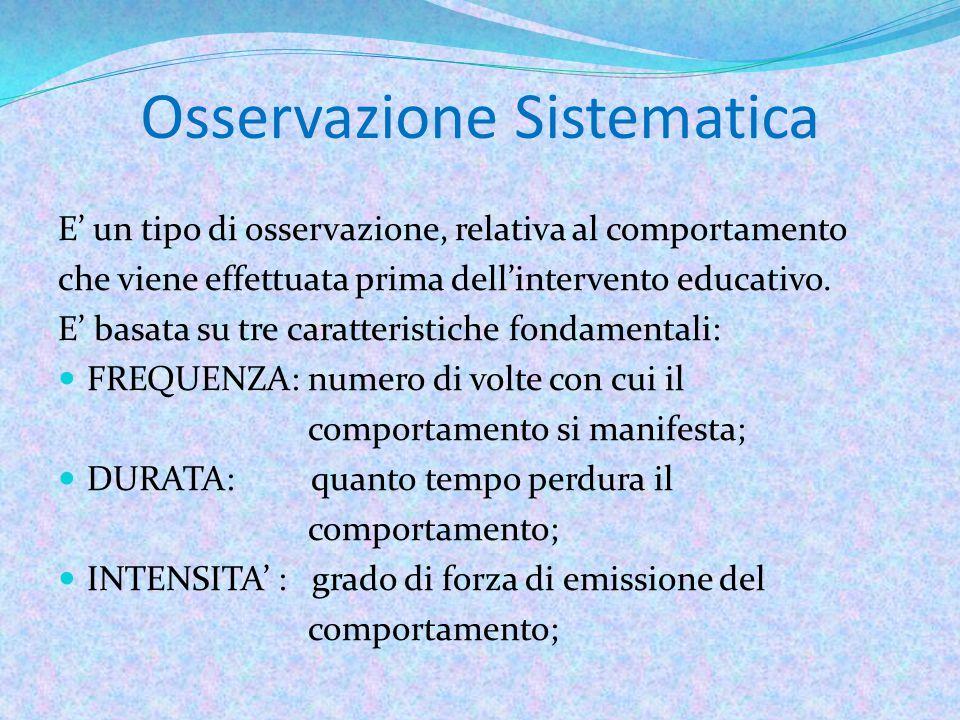 Osservazione Sistematica E' un tipo di osservazione, relativa al comportamento che viene effettuata prima dell'intervento educativo.