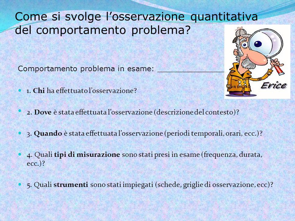 Come si svolge l'osservazione quantitativa del comportamento problema.