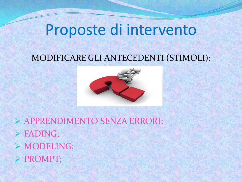 Proposte di intervento MODIFICARE GLI ANTECEDENTI (STIMOLI):  APPRENDIMENTO SENZA ERRORI;  FADING;  MODELING;  PROMPT;