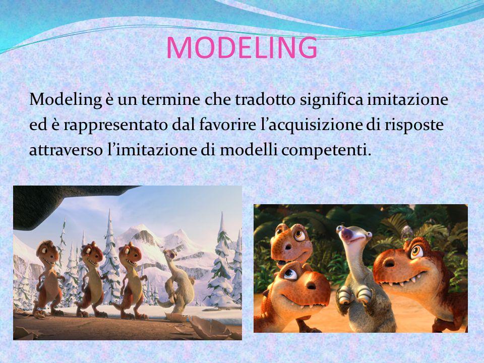 MODELING Modeling è un termine che tradotto significa imitazione ed è rappresentato dal favorire l'acquisizione di risposte attraverso l'imitazione di modelli competenti.