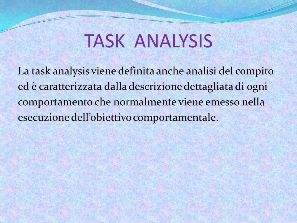 TASK ANALYSIS La task analysis viene definita anche analisi del compito ed è caratterizzata dalla descrizione dettagliata di ogni comportamento che normalmente viene emesso nella esecuzione dell'obiettivo comportamentale.