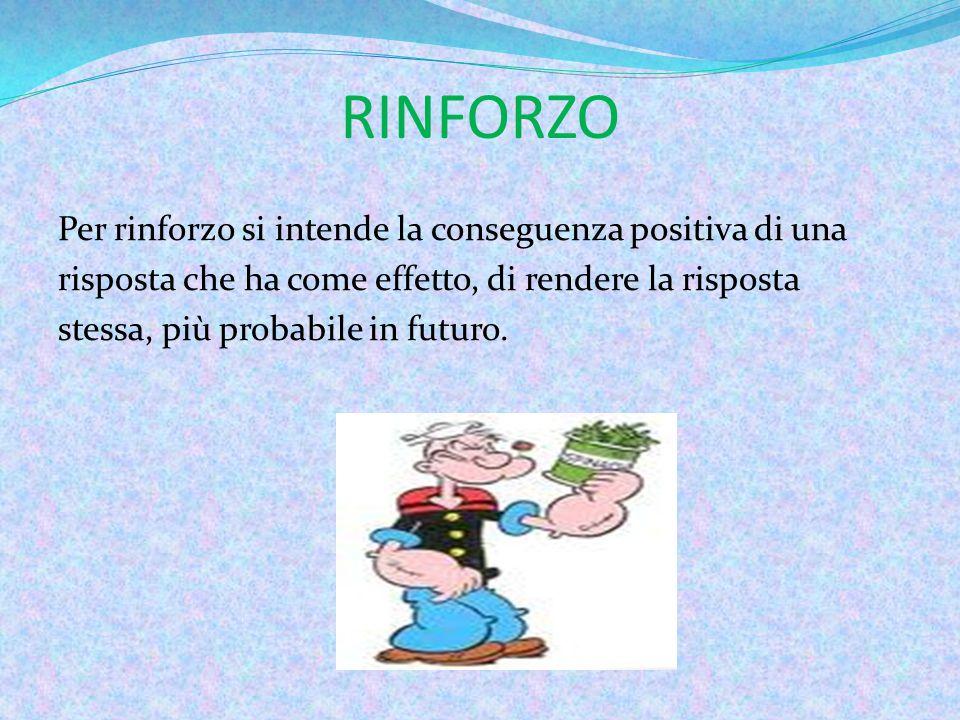 RINFORZO Per rinforzo si intende la conseguenza positiva di una risposta che ha come effetto, di rendere la risposta stessa, più probabile in futuro.