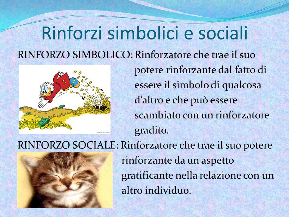 Rinforzi simbolici e sociali RINFORZO SIMBOLICO: Rinforzatore che trae il suo potere rinforzante dal fatto di essere il simbolo di qualcosa d'altro e che può essere scambiato con un rinforzatore gradito.