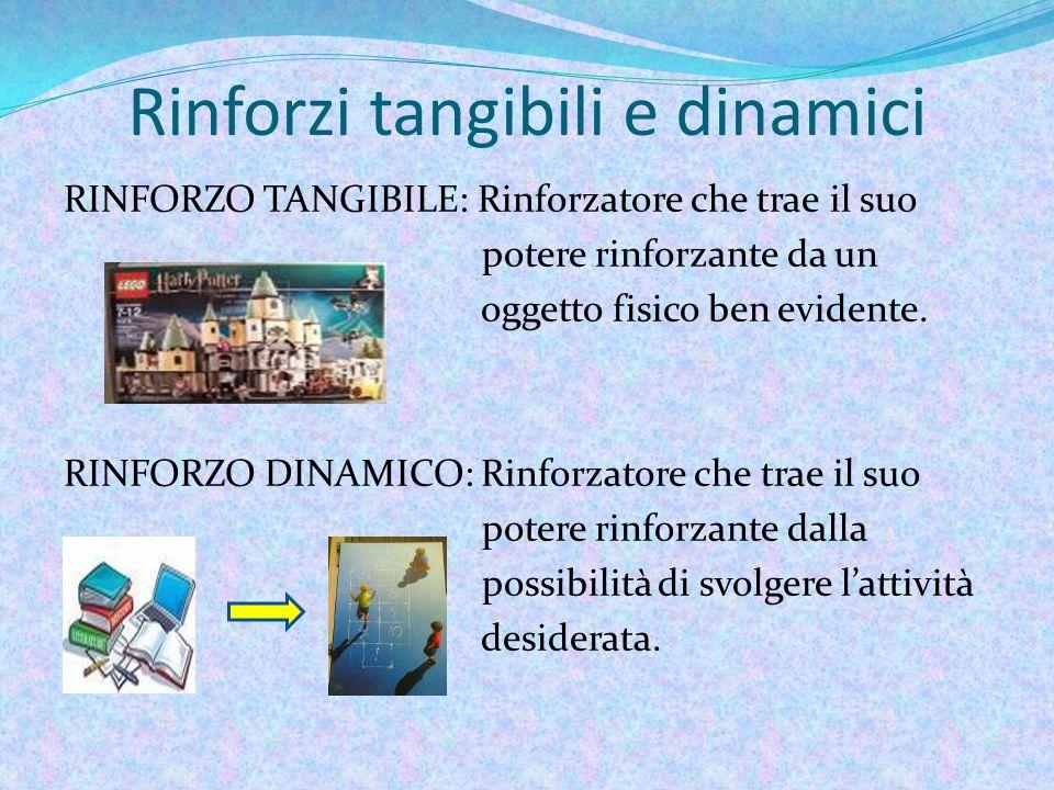 Rinforzi tangibili e dinamici RINFORZO TANGIBILE: Rinforzatore che trae il suo potere rinforzante da un oggetto fisico ben evidente.