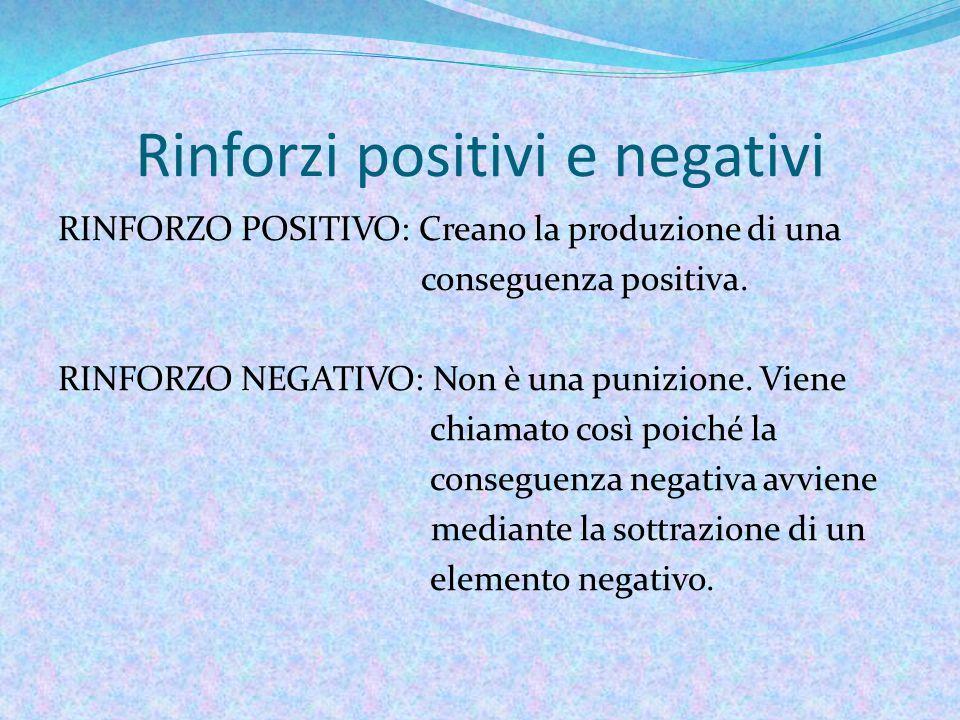 Rinforzi positivi e negativi RINFORZO POSITIVO: Creano la produzione di una conseguenza positiva.