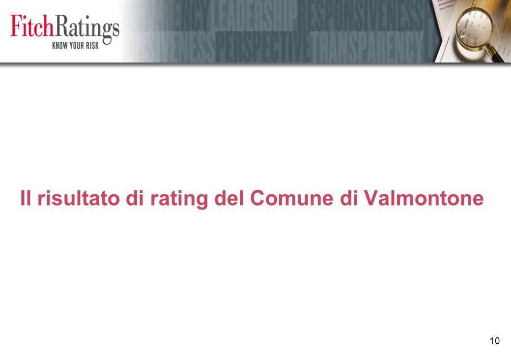 10 Il risultato di rating del Comune di Valmontone
