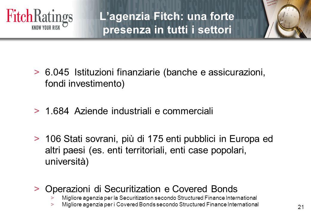 21 L'agenzia Fitch: una forte presenza in tutti i settori >6.045 Istituzioni finanziarie (banche e assicurazioni, fondi investimento) >1.684 Aziende industriali e commerciali >106 Stati sovrani, più di 175 enti pubblici in Europa ed altri paesi (es.