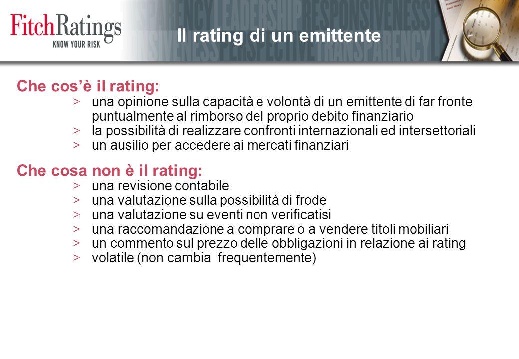 Che cos'è il rating: >una opinione sulla capacità e volontà di un emittente di far fronte puntualmente al rimborso del proprio debito finanziario >la possibilità di realizzare confronti internazionali ed intersettoriali >un ausilio per accedere ai mercati finanziari Che cosa non è il rating: >una revisione contabile >una valutazione sulla possibilità di frode >una valutazione su eventi non verificatisi >una raccomandazione a comprare o a vendere titoli mobiliari >un commento sul prezzo delle obbligazioni in relazione ai rating >volatile (non cambia frequentemente) Il rating di un emittente