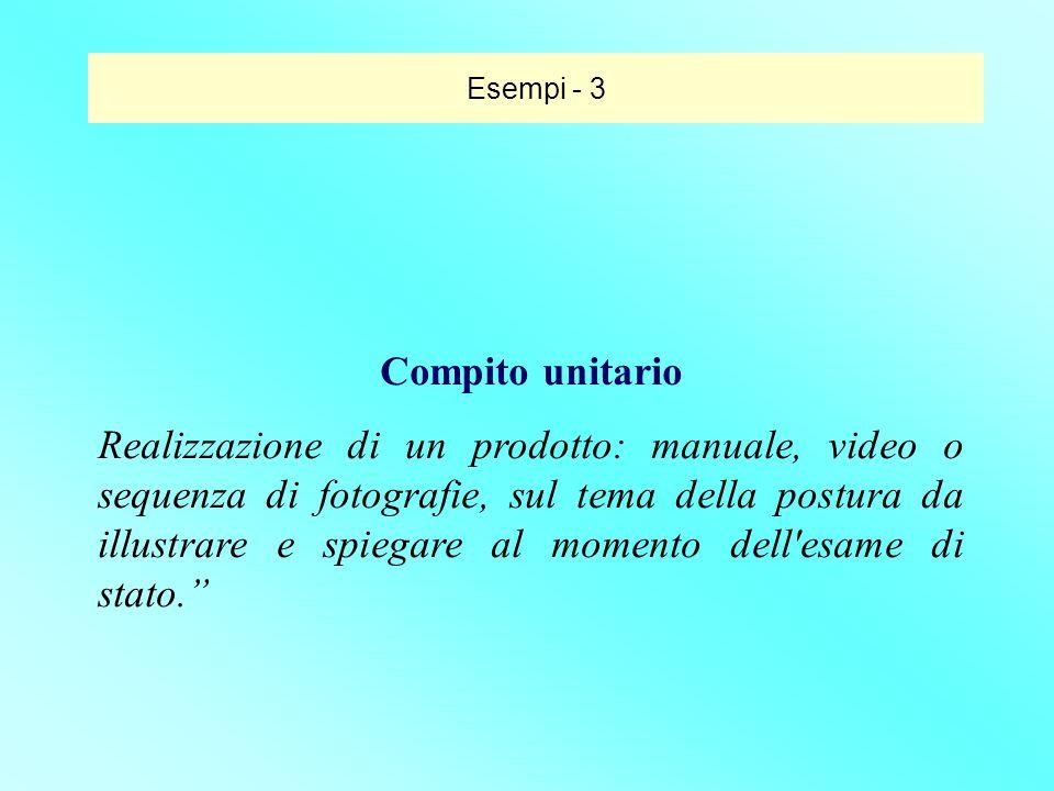Compito unitario Realizzazione di un prodotto: manuale, video o sequenza di fotografie, sul tema della postura da illustrare e spiegare al momento del