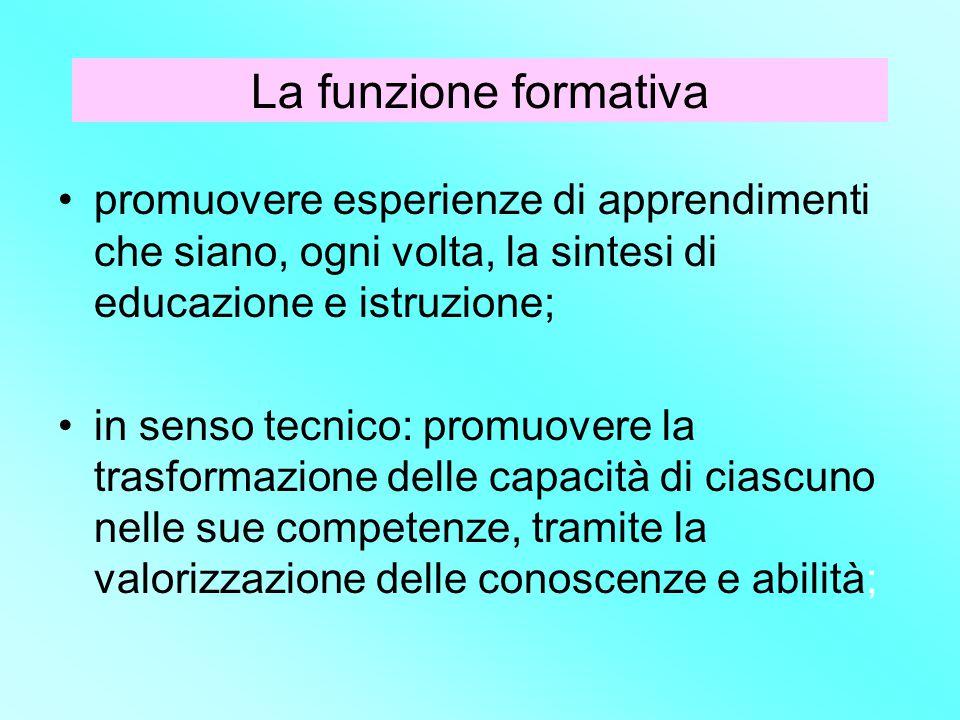 La funzione formativa promuovere esperienze di apprendimenti che siano, ogni volta, la sintesi di educazione e istruzione; in senso tecnico: promuover