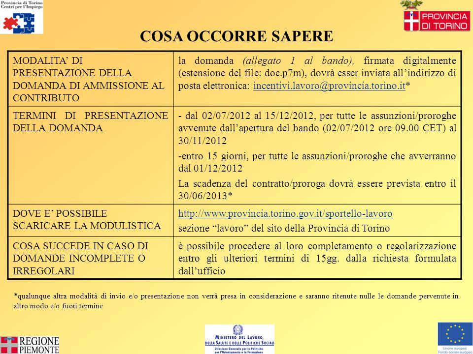 MODALITA' DI PRESENTAZIONE DELLA DOMANDA DI AMMISSIONE AL CONTRIBUTO la domanda (allegato 1 al bando), firmata digitalmente (estensione del file: doc.p7m), dovrà esser inviata all'indirizzo di posta elettronica: incentivi.lavoro@provincia.torino.it*incentivi.lavoro@provincia.torino.it TERMINI DI PRESENTAZIONE DELLA DOMANDA - dal 02/07/2012 al 15/12/2012, per tutte le assunzioni/proroghe avvenute dall'apertura del bando (02/07/2012 ore 09.00 CET) al 30/11/2012 -entro 15 giorni, per tutte le assunzioni/proroghe che avverranno dal 01/12/2012 La scadenza del contratto/proroga dovrà essere prevista entro il 30/06/2013* DOVE E' POSSIBILE SCARICARE LA MODULISTICA http://www.provincia.torino.gov.it/sportello-lavoro sezione lavoro del sito della Provincia di Torino COSA SUCCEDE IN CASO DI DOMANDE INCOMPLETE O IRREGOLARI è possibile procedere al loro completamento o regolarizzazione entro gli ulteriori termini di 15gg.