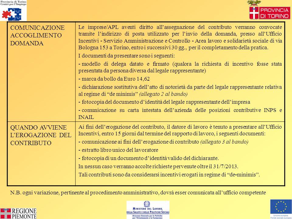 COMUNICAZIONE ACCOGLIMENTO DOMANDA Le imprese/APL aventi diritto all'assegnazione del contributo verranno convocate tramite l'indirizzo di posta utilizzato per l'invio della domanda, presso all'Ufficio Incentivi - Servizio Amministrazione e Controllo - Area lavoro e solidarietà sociale di via Bologna 153 a Torino, entro i successivi 30 gg., per il completamento della pratica.