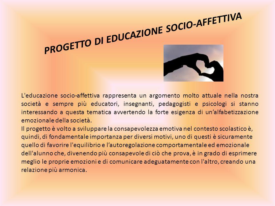 L educazione socio-affettiva rappresenta un argomento molto attuale nella nostra società e sempre più educatori, insegnanti, pedagogisti e psicologi si stanno interessando a questa tematica avvertendo la forte esigenza di un'alfabetizzazione emozionale della società.