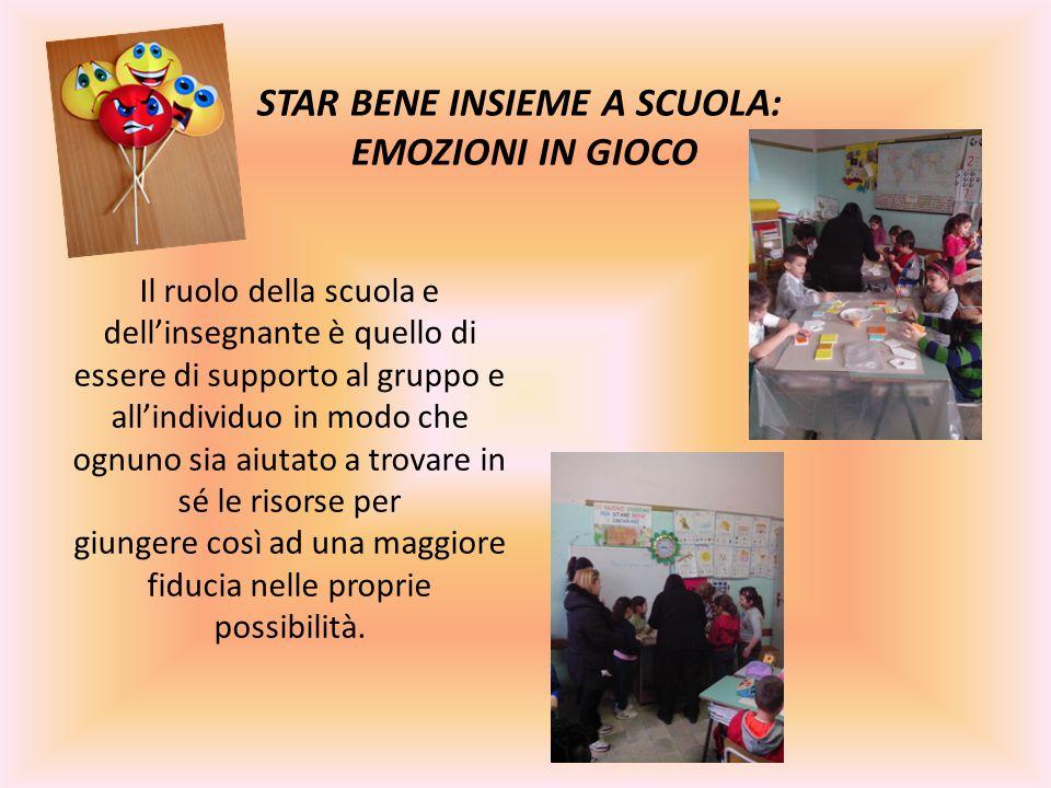 STAR BENE INSIEME A SCUOLA: EMOZIONI IN GIOCO Il ruolo della scuola e dell'insegnante è quello di essere di supporto al gruppo e all'individuo in modo che ognuno sia aiutato a trovare in sé le risorse per giungere così ad una maggiore fiducia nelle proprie possibilità.