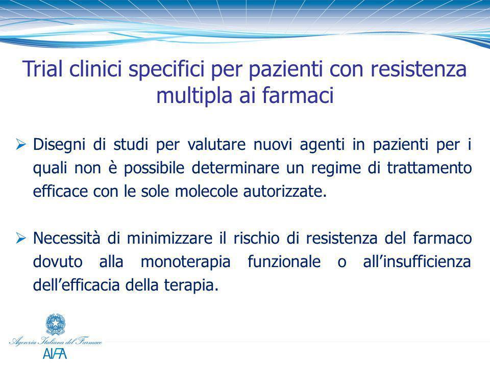  Disegni di studi per valutare nuovi agenti in pazienti per i quali non è possibile determinare un regime di trattamento efficace con le sole molecol