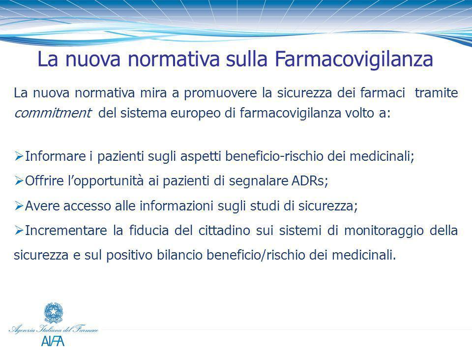 La nuova normativa mira a promuovere la sicurezza dei farmaci tramite commitment del sistema europeo di farmacovigilanza volto a:  Informare i pazien