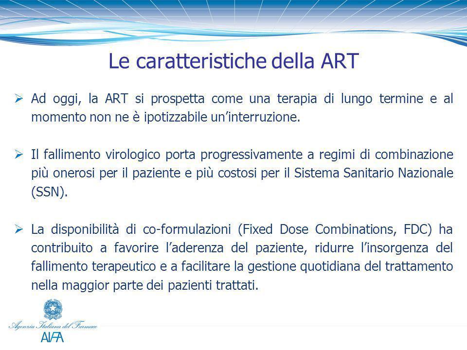 Le caratteristiche della ART  Ad oggi, la ART si prospetta come una terapia di lungo termine e al momento non ne è ipotizzabile un'interruzione.  Il