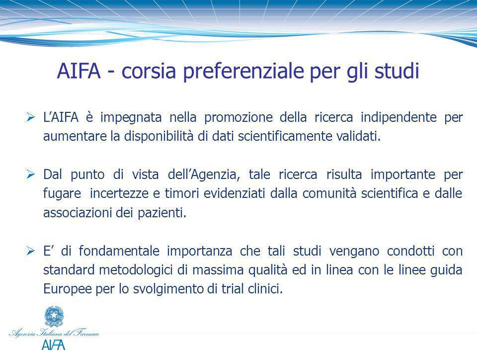 AIFA - corsia preferenziale per gli studi  L'AIFA è impegnata nella promozione della ricerca indipendente per aumentare la disponibilità di dati scie