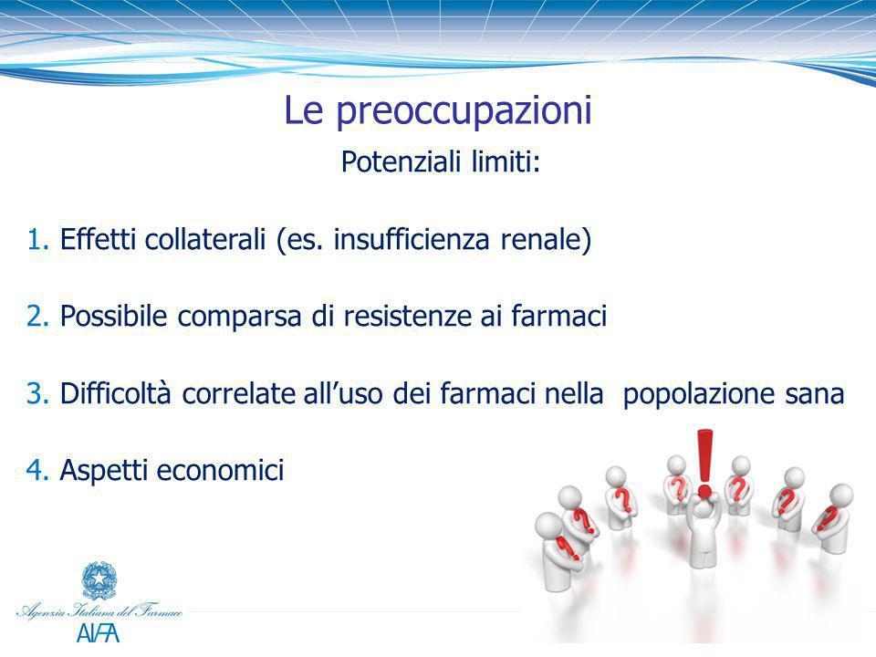 Le preoccupazioni Potenziali limiti: 1. Effetti collaterali (es. insufficienza renale) 2. Possibile comparsa di resistenze ai farmaci 3. Difficoltà co
