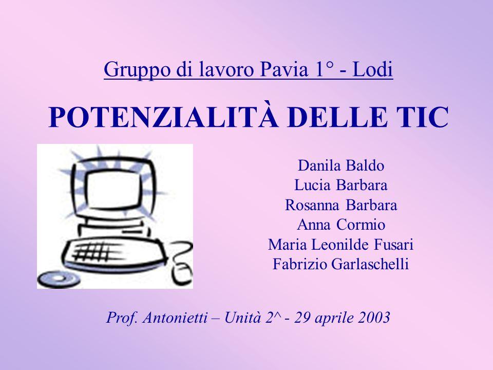 Gruppo di lavoro Pavia 1° - Lodi POTENZIALITÀ DELLE TIC Danila Baldo Lucia Barbara Rosanna Barbara Anna Cormio Maria Leonilde Fusari Fabrizio Garlasch