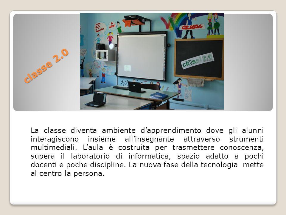 La classe diventa ambiente d'apprendimento dove gli alunni interagiscono insieme all'insegnante attraverso strumenti multimediali. L'aula è costruita