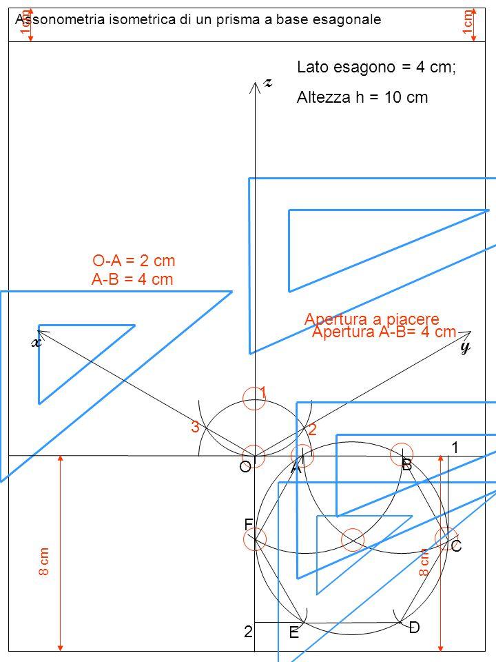 Assonometria isometrica di un prisma a base esagonale Apertura O-A O z y x Lato esagono = 4 cm; Altezza h = 10 cm A B C D E F 1 2 A'A' Apertura O-B B'B' Apertura O-1 1'1' Apertura O-F F'F' Apertura O-2 2'2' E'E' D'D' C'C' Base inferiore