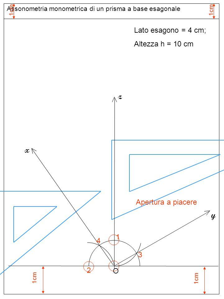 Assonometria monometrica di un prisma a base esagonale Lato esagono = 4 cm; Altezza h = 10 cm O-A = 2,00 cm z y x O A B A-B = 4,00 cm Apertura A-B = 4,00 cm C D E F Base inferiore