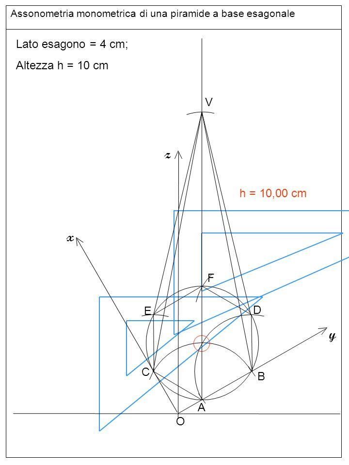 Assonometria monometrica di una piramide a base esagonale Lato esagono = 4 cm; Altezza h = 10 cm z y x O A B h = 10,00 cm C D E F V Altezze e base sup