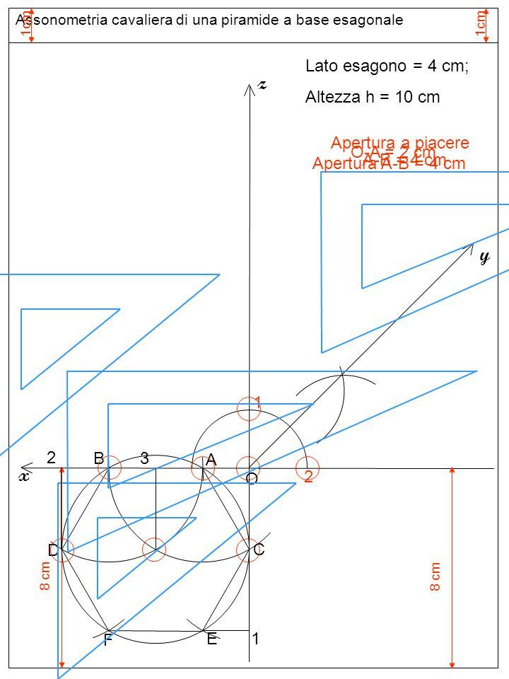 Assonometria cavaliera di una piramide a base esagonale 1cm Assi assonometria cavaliera 1 Apertura a piacere z 2 y x Lato esagono = 4 cm; Altezza h =