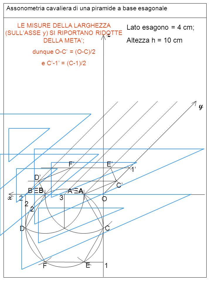 Assonometria cavaliera di una piramide a base esagonale Base inferiore z y x Lato esagono = 4 cm; Altezza h = 10 cm A B O C D E F LE MISURE DELLA LARG